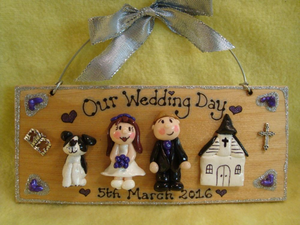 3 characters + Church/ Chapel 3d Family Wedding / Anniversary Sign Personalised Christian theme Unique Handmade To Order